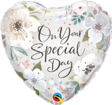 'On Your Special Day' Heart Floral Foil Helium Balloon
